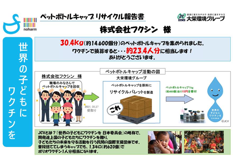 1年間におけるペットボトルキャップの回収および寄付金の集計結果を発表します-SDGs・リサイクル・寄付